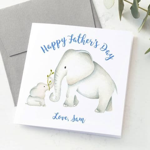 Personalised Elephant Dad And Baby Card