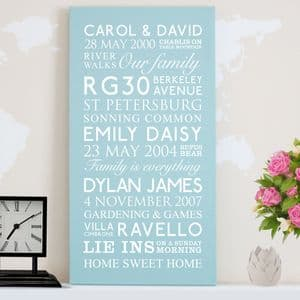 Personalised Family Memories Canvas