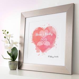 Personalised Flamingos In Love Watercolour Print