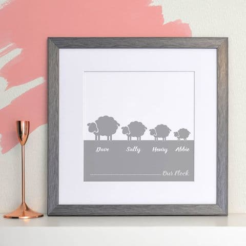 Personalised Flock Of Sheep Family Print