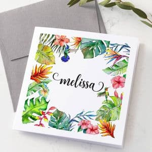 Personalised Floral And Bird Watercolour Card