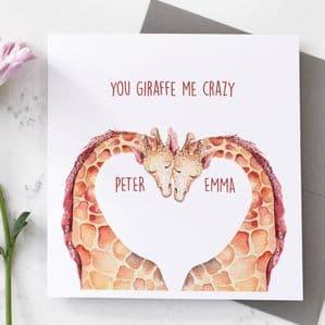 Personalised Giraffe Valentine's Day Card