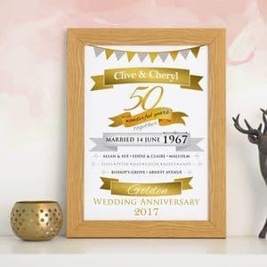 Personalised Golden Anniversary Typographic Art