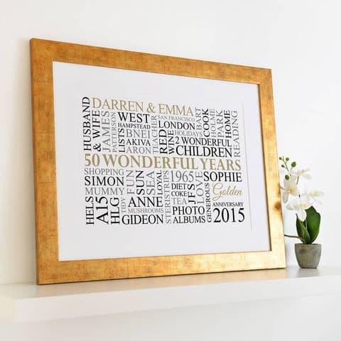 Personalised Golden Anniversary Word Art
