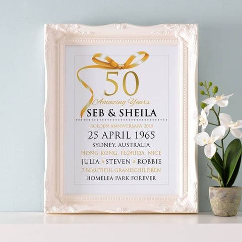 Personalised Golden Wedding Anniversary Typography
