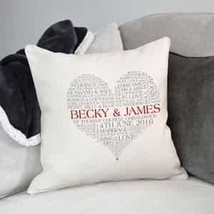 Personalised Heart Word Art Cushion