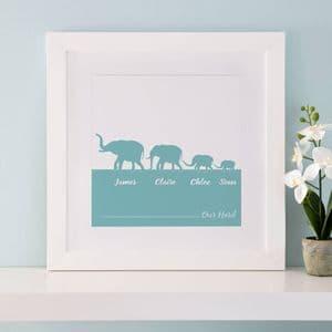 Personalised Herd Of Elephants Family Print