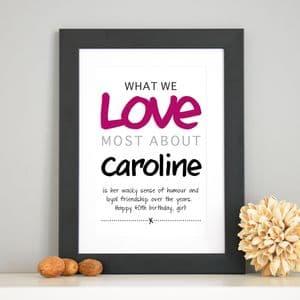 Personalised 'Love Most' Print