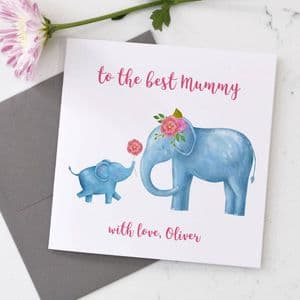 Personalised Mum And Baby Elephant Card