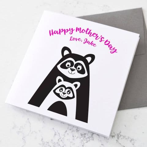 Personalised Raccoon Mother's Day Card