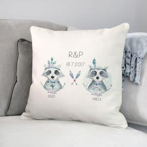 Personalised Raccoon Wedding Boho Cushion