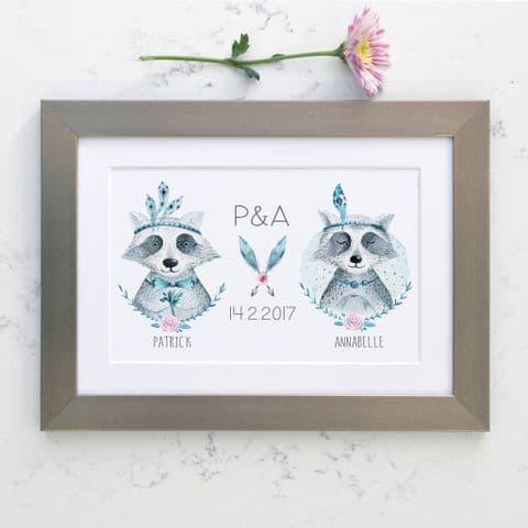 Personalised Raccoon Wedding Boho Print