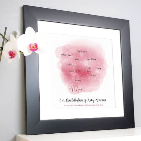 Personalised Ruby Anniversary Family Constellation