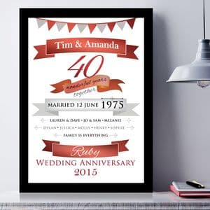 Personalised Ruby Anniversary Typographic Art