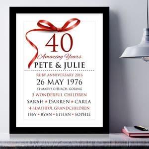 Personalised Ruby Wedding Anniversary Typography