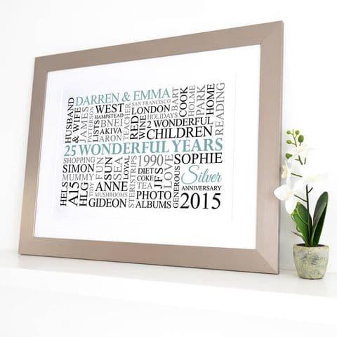 Personalised Silver Anniversary Word Art