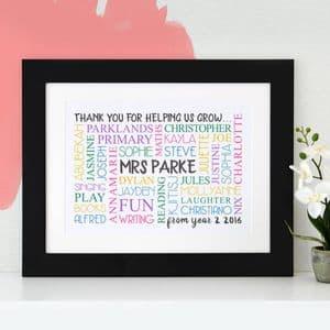 Personalised 'Thank You Teacher' Word Art