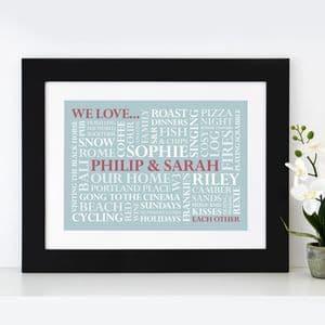 Personalised 'We Love' Word Art Print