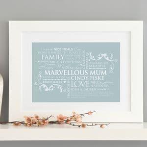 Personalised Word Art For Mum Print