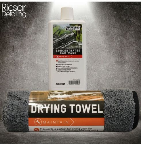ValetPRO Concentrated Car Wash 500 ML & Microfibre Drying Towel Grey 50 x 80 CM