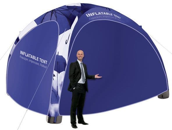 Inflatable Gazebo and Tent shelter with optional printed branding to protect from the sun and rain alike
